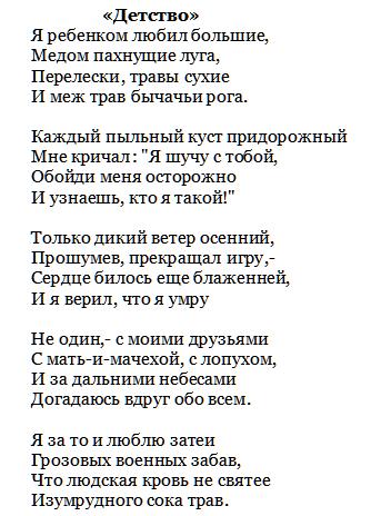 5 место - Н. Гумилев «Детство»